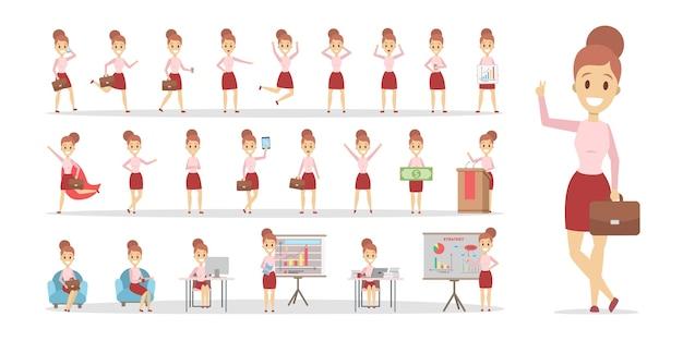 Conjunto de personaje de mujer de negocios o trabajador de oficina en varias poses, emociones y gestos de cara. ilustración de vector plano aislado