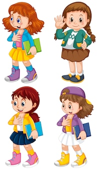 Conjunto de personaje de niña linda