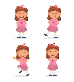 Conjunto de personaje de niña personaje de dibujos animados lindo en diferentes expresiones y posturas