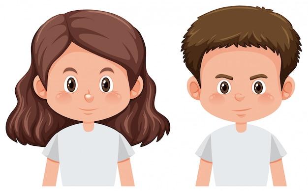 Conjunto de personaje de niño y niña
