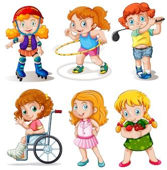 Conjunto de personaje de niños gorditos