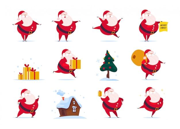 Conjunto de personaje plano divertido de santa claus aislado: soporte, bolsa de regalos, sostener la caja de regalo, saltar, caminar, sonreír. abeto, casa de pan de jengibre.