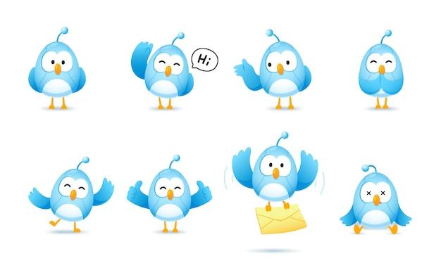 Conjunto de personaje de robot pájaro lindo en muchas pose