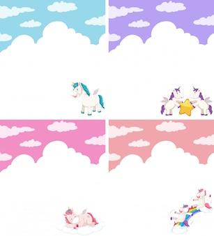 Conjunto de personaje unicornio.
