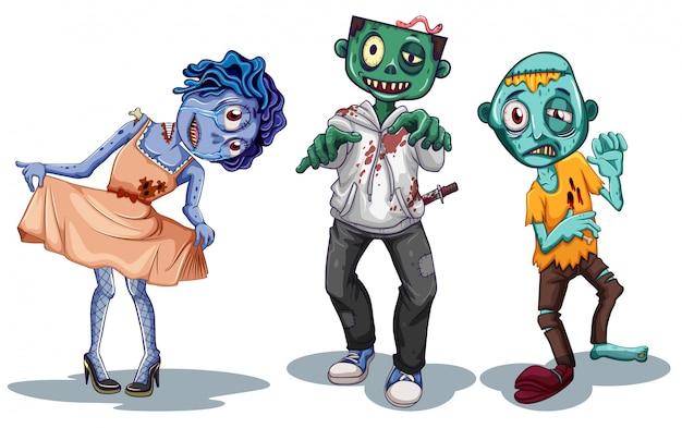 Conjunto de personaje zombie.