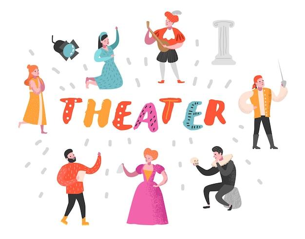 Conjunto de personajes de actor de teatro
