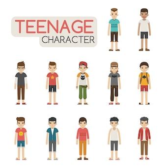 Conjunto de personajes adolescentes de dibujos animados
