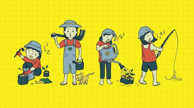 Conjunto de personajes de agricultores haciendo trabajos agrícolas.