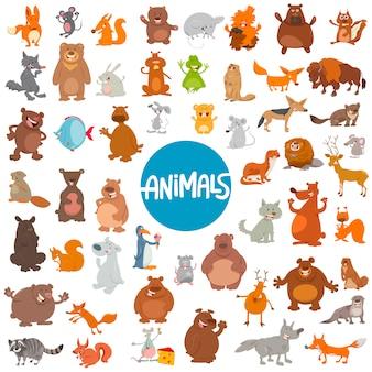 Conjunto de personajes de animales de dibujos animados enorme