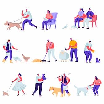 Conjunto de personajes de animales domésticos y mascotas planas