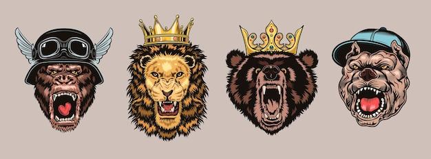 Conjunto de personajes de animales enojados.