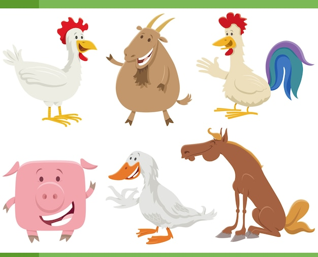 Conjunto de personajes de animales de granja feliz de dibujos animados