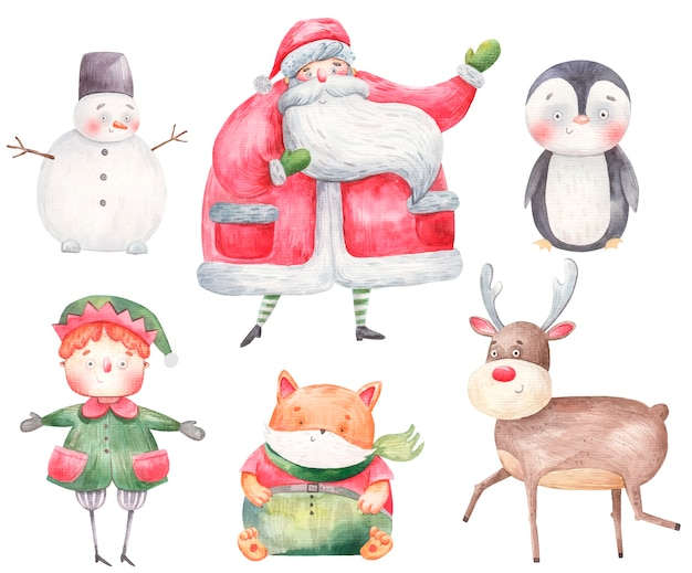 Conjunto de personajes de año nuevo y navidad, santa claus, ciervo, gnomo, ayudante de santa claus, pingüino, muñeco de nieve, zorro, ilustración acuarela.