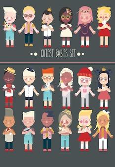 Conjunto de personajes de bebés o niños pequeños