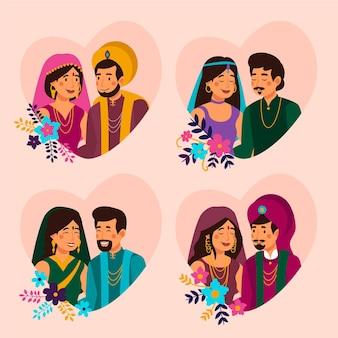 Conjunto de personajes de boda india