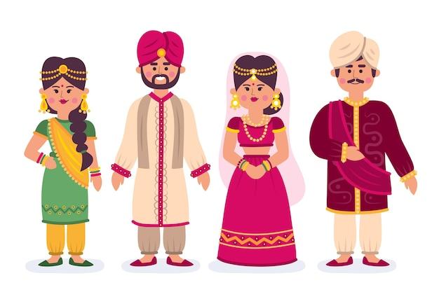 Conjunto de personajes de boda indios