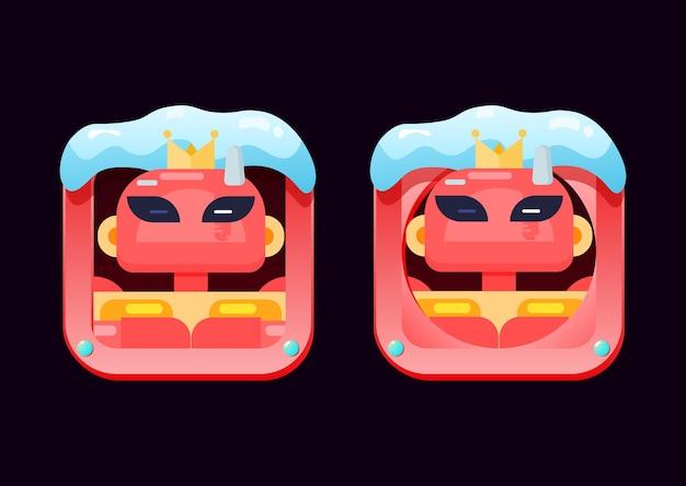 Conjunto de personajes de borde de avatar de interfaz gráfica de usuario con tema navideño para elementos de activos de interfaz de usuario de juego