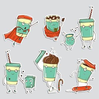 Conjunto de personajes de café, emoticonos pegatinas de redes sociales.