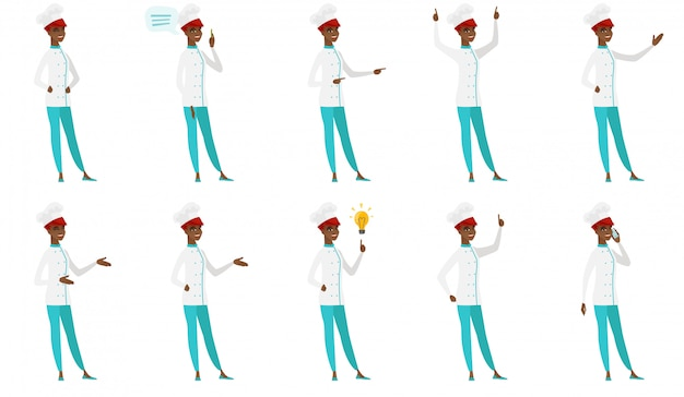 Conjunto de personajes de chef.