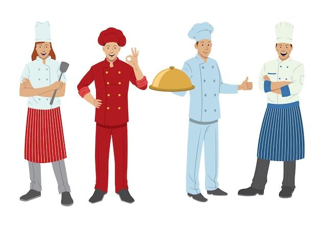 Conjunto de personajes de chef