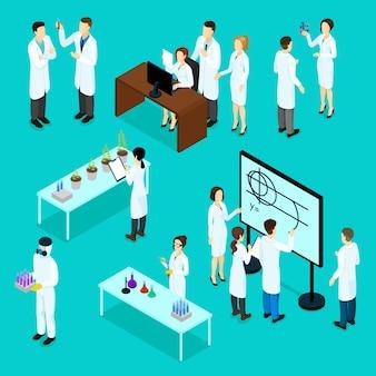 Conjunto de personajes de científicos isométricos