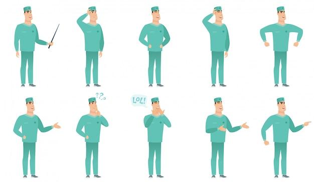 Conjunto de personajes cirujanos
