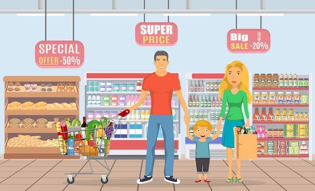 Conjunto de personajes de compras familiares,