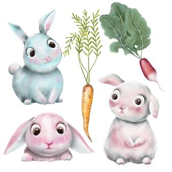 Conjunto de personajes de conejitos dibujados a mano.