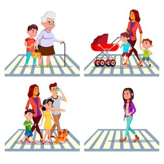Conjunto de personajes de cruce de peatones
