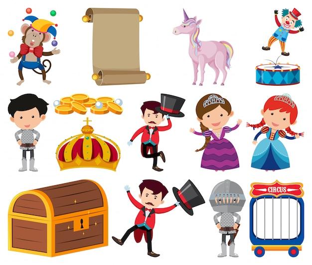 Conjunto de personajes de cuento de hadas en blanco