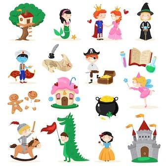 Conjunto de personajes de cuento de hadas.