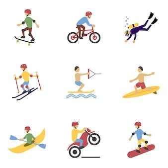 Conjunto de personajes de deportes extremos.