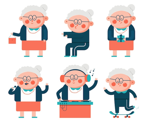 Conjunto de personajes de dibujos animados de abuela vieja lindo aislado en un fondo blanco.