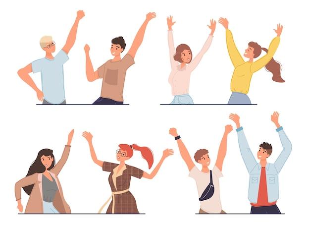 Conjunto de personajes de dibujos animados amigos se regocijan y se saludan felizmente