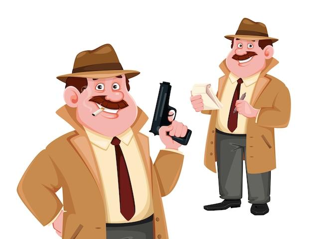 Conjunto de personajes de dibujos animados detective de dos poses