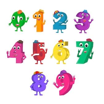 Conjunto de personajes de dibujos animados divertidos números