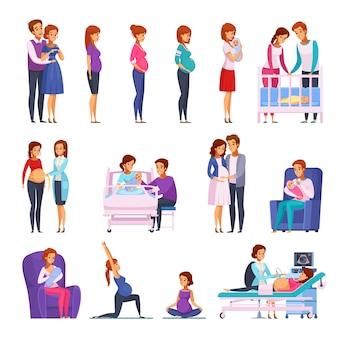Conjunto de personajes de dibujos animados de embarazo recién nacido