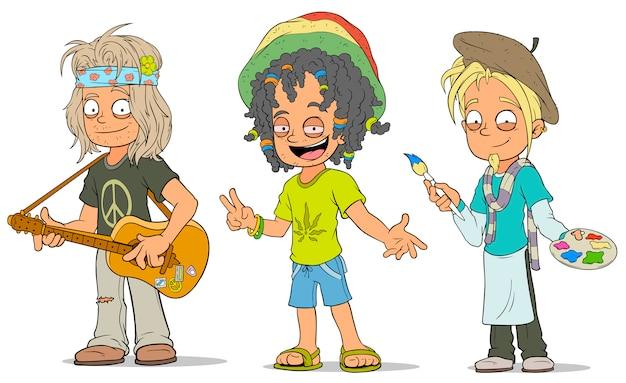 Conjunto de personajes de dibujos animados hippie artista jamaicano