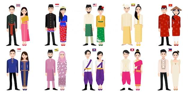 Conjunto de personajes de dibujos animados de hombres y mujeres asiáticos en traje tradicional con bandera