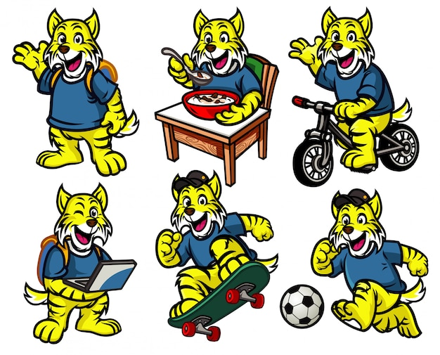 Conjunto de personajes de dibujos animados de lindo gatito salvaje