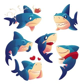 Conjunto de personajes de dibujos animados lindo tiburón