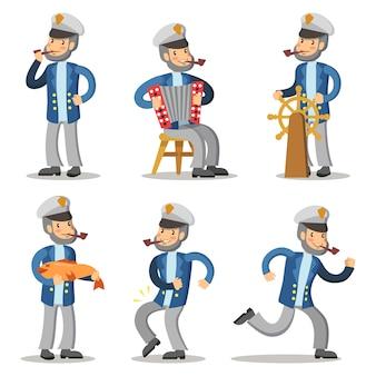 Conjunto de personajes de dibujos animados de marinero. viejo capitán en uniforme.