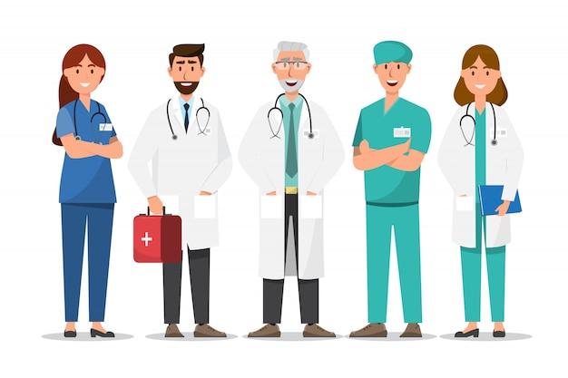 Conjunto de personajes de dibujos animados médico. concepto de equipo de personal médico en el hospital