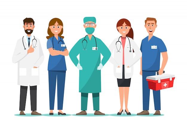 Conjunto de personajes de dibujos animados médico, concepto de equipo de personal médico en el hospital