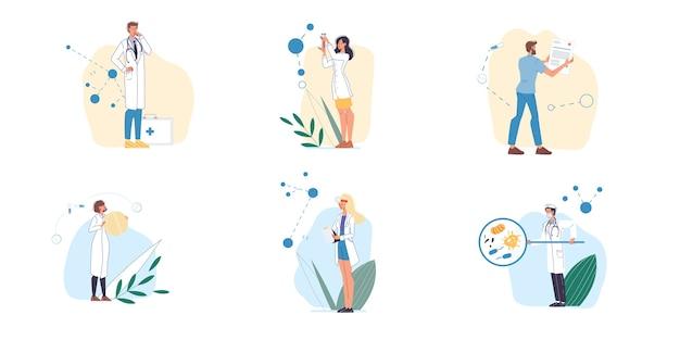 Conjunto de personajes de dibujos animados médico y enfermeras en uniforme, batas de laboratorio con dispositivos médicos