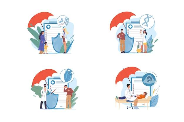 Conjunto de personajes de dibujos animados médico plano y paciente