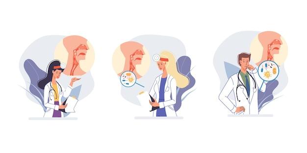 Conjunto de personajes de dibujos animados médico en uniforme, bata de laboratorio con dispositivos médicos y símbolos