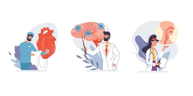 Conjunto de personajes de dibujos animados médicos y enfermeras en uniforme, batas de laboratorio con dispositivos médicos y equipo médico de órganos internos, varias poses y personas
