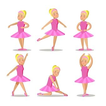 Conjunto de personajes de dibujos animados de pequeña bailarina en vestido rosa.