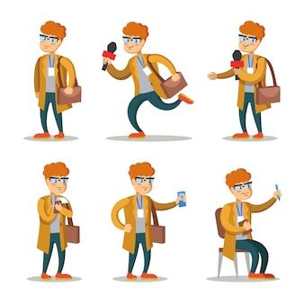 Conjunto de personajes de dibujos animados de periodista. hombre con micrófono.